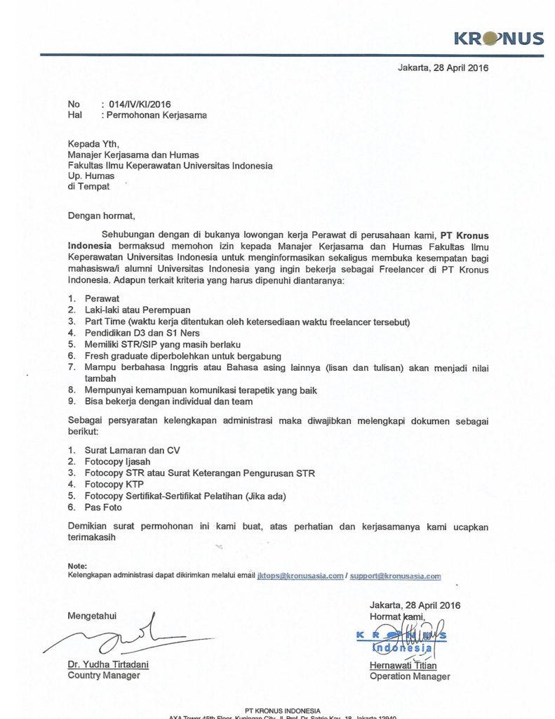 Permohonan Kerjasama Untuk FIK UI