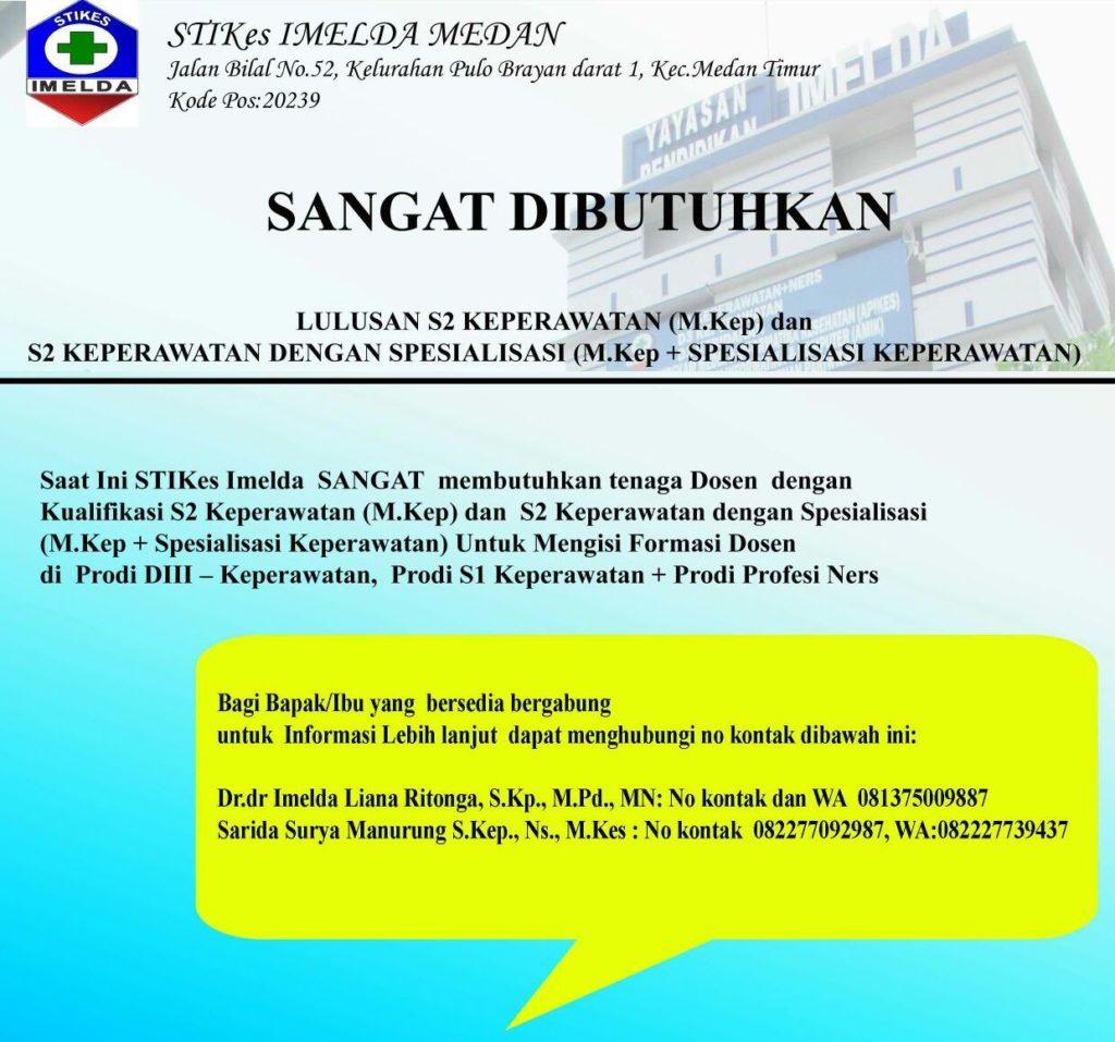 Lowongan Di Stikes Imelda Medan Fakultas Ilmu Keperawatan