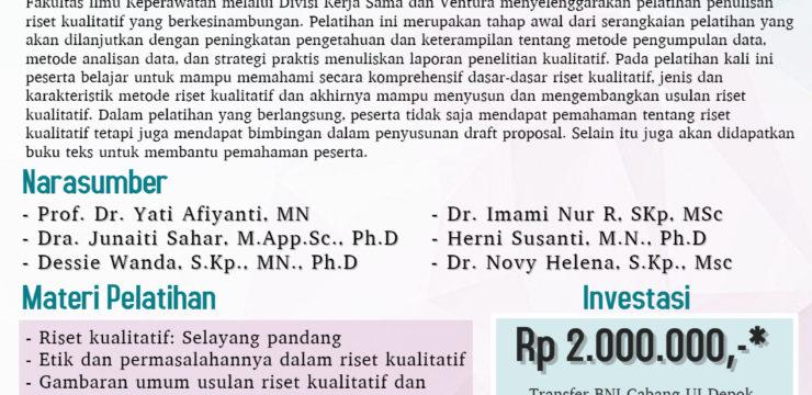 Pelatihan Penulisan Riset Kualitatif dalam Bidang Kesehatan
